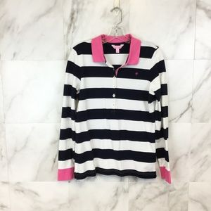 Lilly Pulitzer Striped Long Sleeve Polo size Large